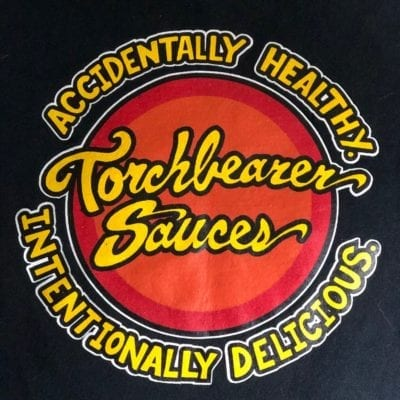 Classic Torchbearer Sauces Logo Shirt close-up